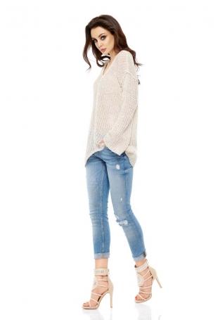 Asymetryczny Lekki Sweter z Dekoltem V - Beżowy
