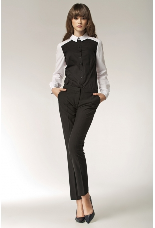 Czarne Eleganckie Spodnie z Kieszeniami