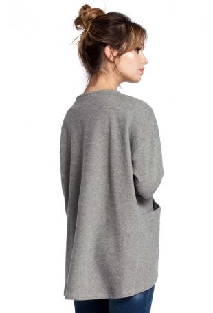 Szary Sweter-Narzutka z Ozdobnym Sznurkiem