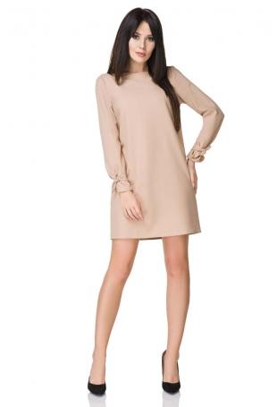 Beżowa Sukienka Wizytowa z Wiązaniami