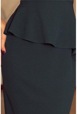 Zielona Elegancka Ołówkowa Sukienka Midi z Asymetryczną Baskinką