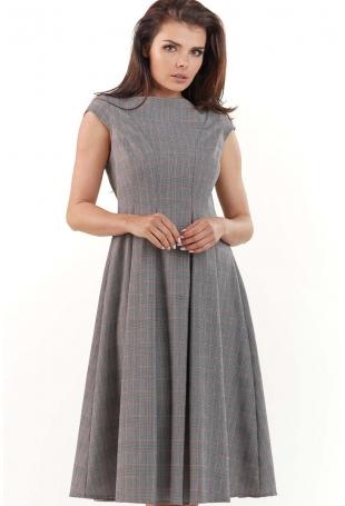Elegancka Sukienka w Kratę z Szerokim Dołem