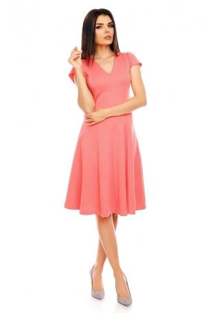 Malinowa Elegancka Rozkloszowana Sukienka z Mini Rękawkiem