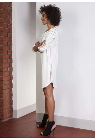 Luźna Sportowa Mini Sukienka z Lampasami - Ecru