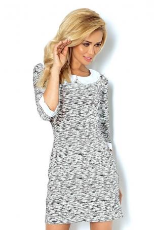 Sukienka Ołówkowa Żakardowa z Białym Kołnierzykiem Wzór Zebra