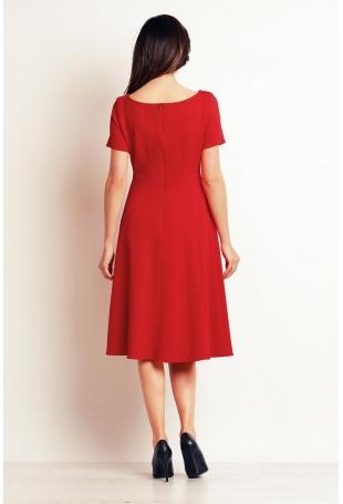 Czerwona Wizytowa Sukienka Midi z Krótkim Rękawem