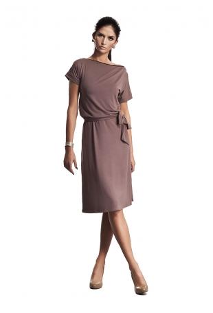 Wyjątkowa Sukienka z Suwakiem w Kolorze Mocca