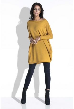 Miodowy Długi Sweter Bombka z Kieszeniami