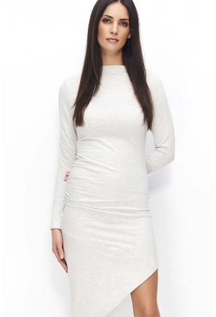 Beżowa Sukienka Dzianinowa Asymetryczna na Długi Rękaw
