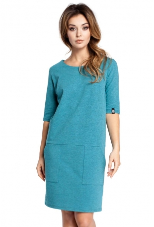 Szmaragdowa Sukienka z Dużymi Przednimi Kieszeniami