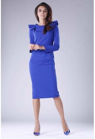 Kobaltowa Sukienka o Dopasowanym Fasonie z Falbankami