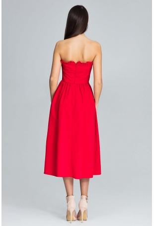 Czerwona Wieczorowa Midi Sukienka Gorsetowa z Falbankami