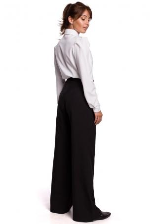 Czarne Eleganckie Szerokie Spodnie z Zaszewkami