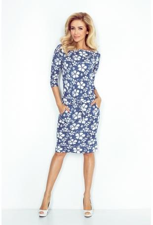 Niebieska Sukienka w Kwiaty Sportowa Ściągana w Pasie