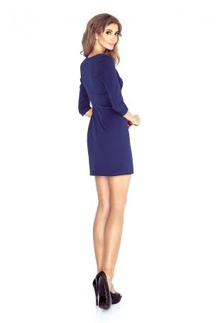 Granatowa Kobieca Sukienka Mini z Guzikami