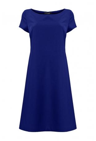 Niebieska Szykowna Trapezowa Sukienka z Rękawkiem
