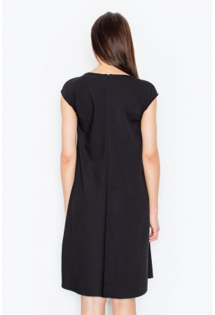 Czarna Rozkloszowana Asymetryczna Sukienka z Półrękawkiem