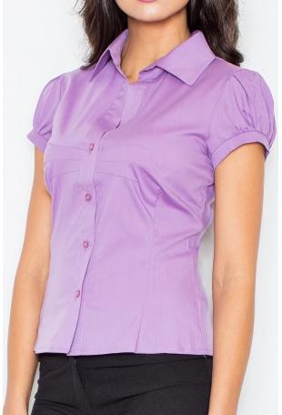Elegancka Koszula z Krótkim Rękawem - Fioletowa