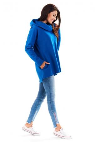 Niebieska Bluza Asymetryczna z Kapturem