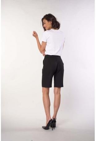 Czarne Spodnie przed Kolano z Szerokimi Nogawkami