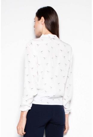 Ecru Koszula Wzorzysta z Kopertowym Dekoltem V