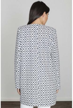 Pudełkowy Płaszcz bez Zapięcia w Biało -Czarne Wzory