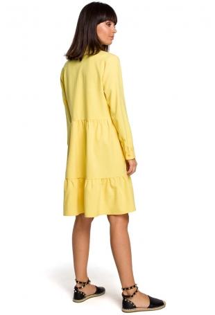 Żółta Koszulowa Sukienka z Falbankami