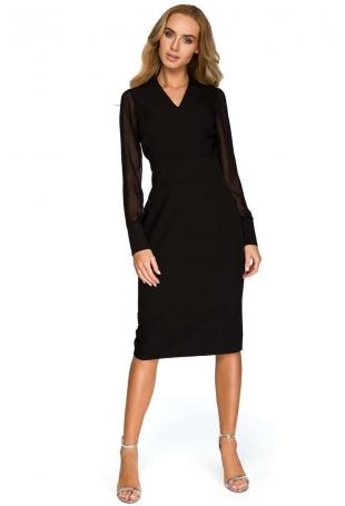 Czarna Dopasowana Wizytowa Sukienka z Siateczkowym Rękawem