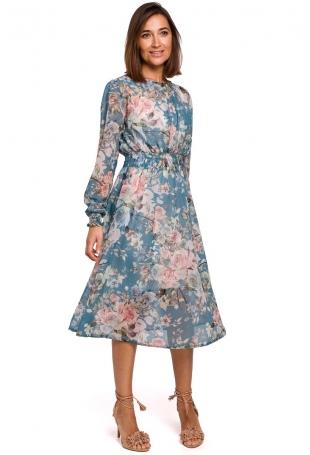Miętowa Szyfonowa Sukienka w Kwiaty z Długim Rękawem