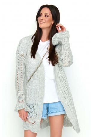 Jasnoszary Ażurowy Sweter Typu Kardigan