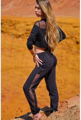 Czarne Dresowe Spodnie z Siateczkowym Panelem