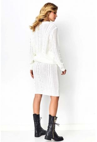 Ecru Efektowny Komplet w Warkocze Sweter+ Spódnica