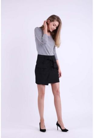 Czarna Kopertowa Mini Spódnica z Kieszeniami