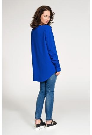 Chabrowa Nierozpinana Asymetryczna Bluza z Drapowanym Rękawem