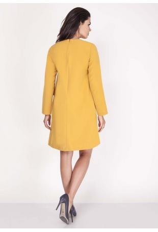 Żółta Sukienka z Dekoltem w Serek z Ozdobną Szarfą na Ramieniu
