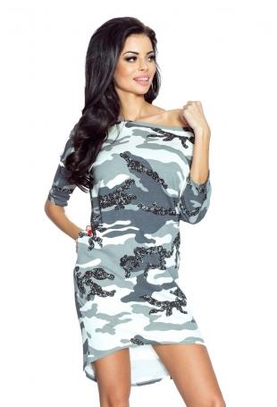 Biało Szara Sukienka z Dłuższym Tyłem - Moro