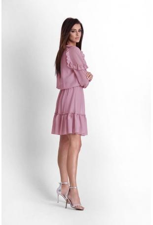 Różowa Zwiewna Szyfonowa Sukienka w Stylu Boho