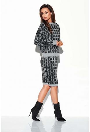 Czarny Jasnoszary Casualowy Komplet w Monogramy Sweter + Spódnica