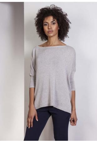 Szary Oversizowy Sweter z Metaliczną Nitką