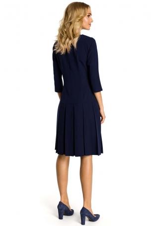 Granatowa Sukienka z Obniżonym Stanem