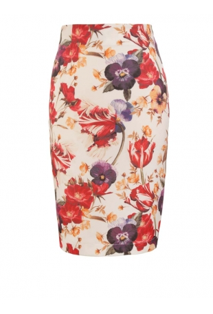 Ołówkowa Spódnica przed Kolano z Kwiatowym Motywem