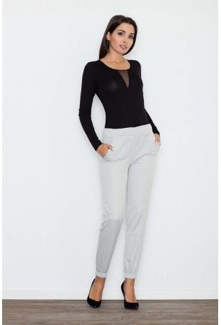 Szare Komfortowe Spodnie z Gumkami