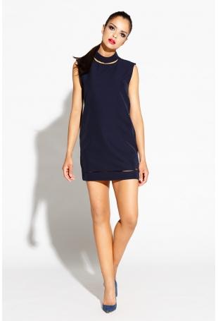 Granatowa Sukienka Mini z Wycięciami