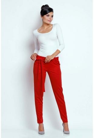 Czerwone Stylowe Spodnie z Wiązaną Szarfą