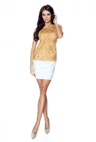 Brązowo Beżowa Dwukolorowa Prosta Sukienka z Krótkim Rękawem