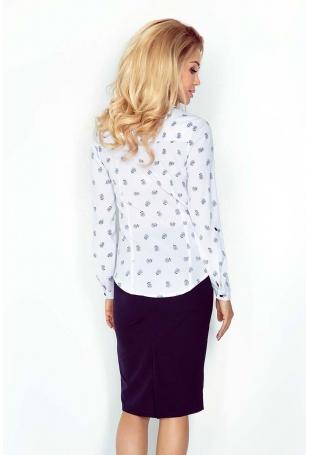 Biała Klasyczna Dopasowana Koszula w Dmuchawce