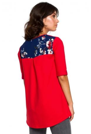 Czerwona Luźna Bluzka z Detalami w Kwiatki