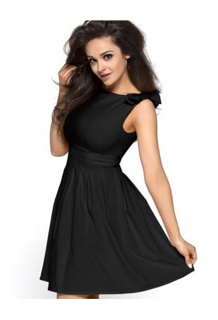 Czarna Urocza Sukienka z Kokardkami na Ramionach