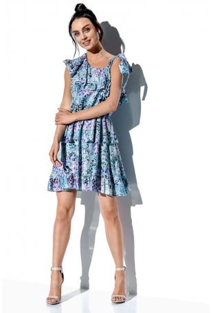 Wzorzysta Sukienka Wiązana na Jedno Ramię - Druk 14
