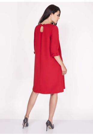 Czerwona Sukienka Trapezowa Mini z Uroczymi Kokardkami